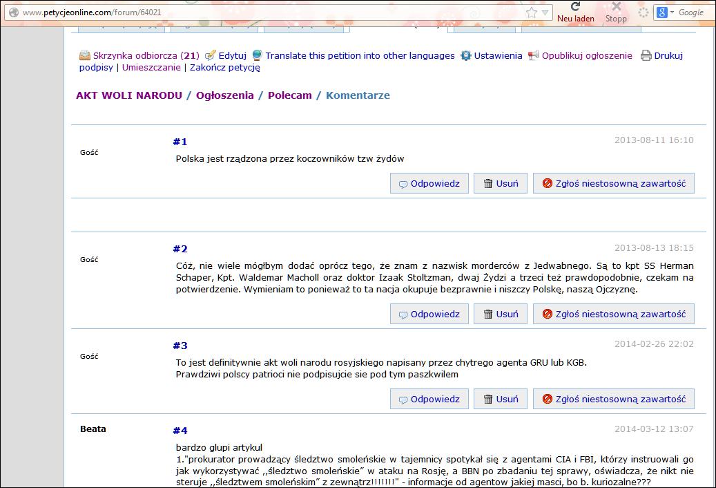 sfałszowana strona forum AKTU WOLI NARODU